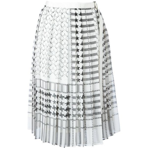 Sacai Stars And Stripes Midi Kilt Skirt ($447) ❤ liked on Polyvore featuring skirts, striped skirts, wrap skirts, white wrap skirt, pleated midi skirt and high waisted knee length skirt