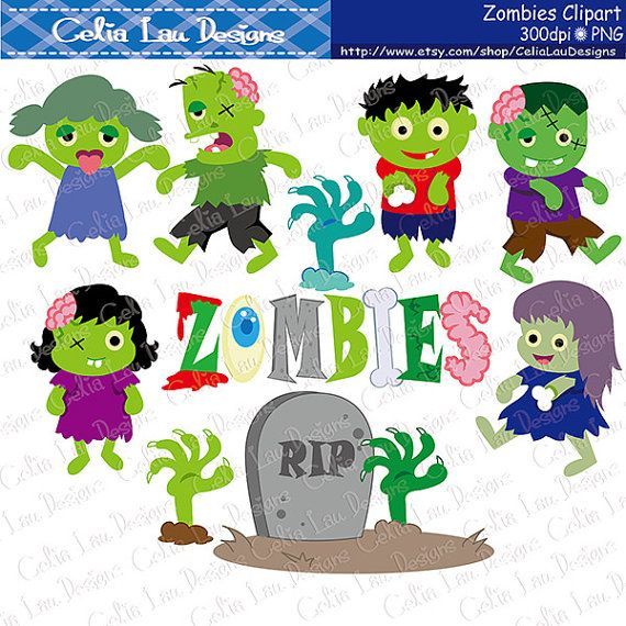 Zombie clipart Zombie Party clipart  Zombie by CeliaLauDesigns