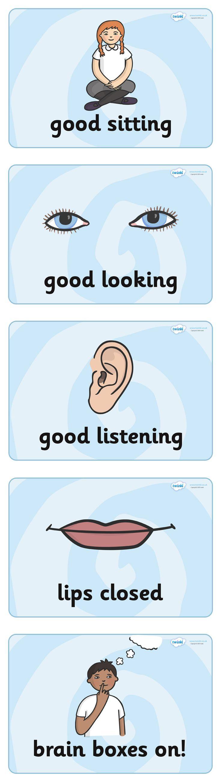 Twinkl Resources >> Good Listening Display Posters  >> Classroom printables for Pre-School, Kindergarten, Primary School and beyond! good listening, listen, behaviour management, SEN, good sitting, good looking, good listening, lips closed, brain box,