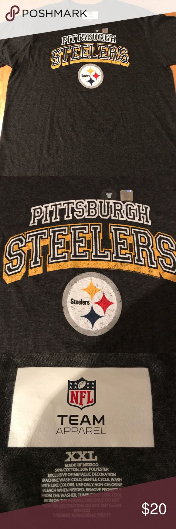 Men's Pittsburgh Steelers T-shirt Men's S/S NFL t-shirt. Pittsburgh Steelers name and logo on gray background. Size 2XL. 50% Cotton/50% Polyester. Never worn. New with tags.   ⭐️ Non Smoking Home ⭐️ No Trades Shirts Tees - Short Sleeve