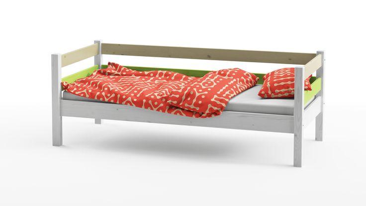 Кровать Wood Fantasy 80х180 Grifon Style со стильным и лаконичным дизайном в виде лавочки выполнена в прекрасно сочетающихся тонах - беленая сосна, лайм и желтый.