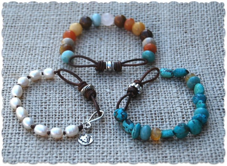 Leather Infinity Link Bracelets ~ Beads are on stretch ...