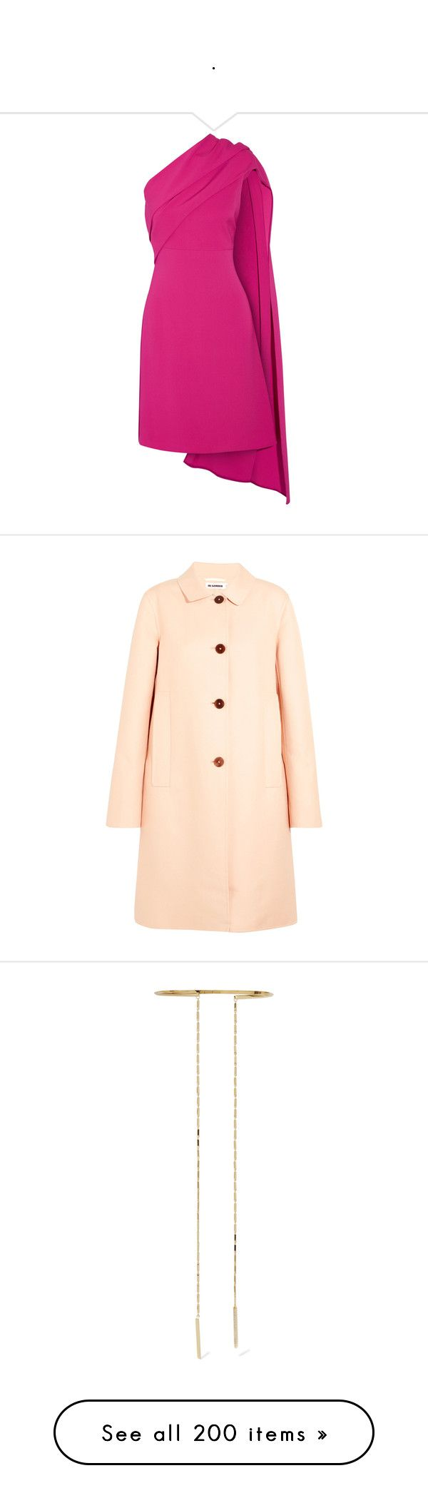 """."" by bappple ❤ liked on Polyvore featuring dresses, fuchsia, one sleeve cocktail dress, fuschia dress, special occasion dresses, fuchsia pink dress, one shoulder dress, outerwear, coats and pastel pink"