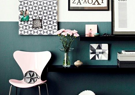 Navy and White Half Coloured Designer Walls