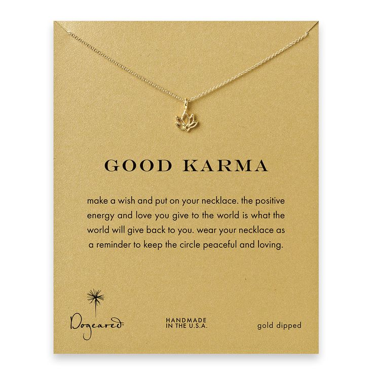 good karma lotus necklace, gold dipped - Dogeared --- 16 inch chain