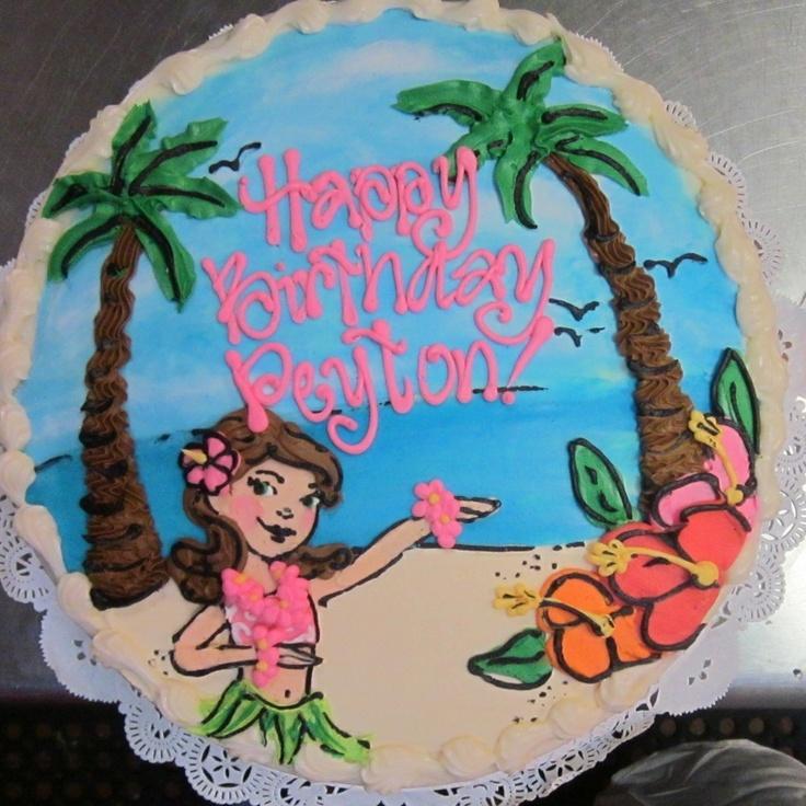 Hula Girl beach scene cake #icingonthecakelosgatos