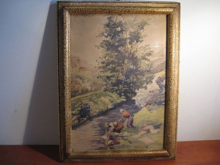 Nice painting - two women doing laundry in the river signed Ant. Estens ... #Classic