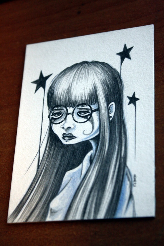 Girl with Glasses ACEO original drawing by bryancollins on Etsy, $25.00