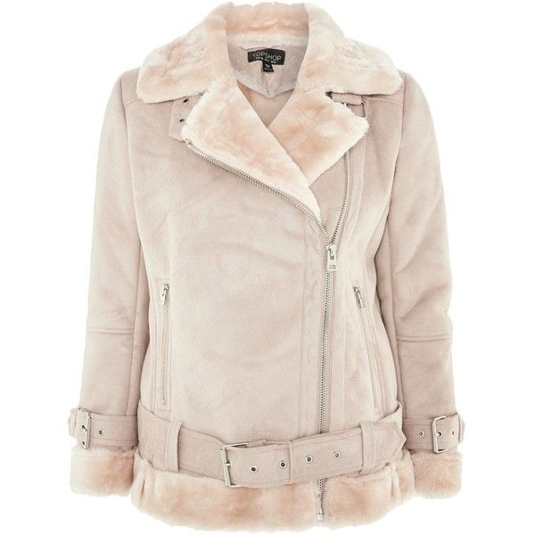 Topshop Faux Shearling Biker Jacket ($105) ❤ liked on Polyvore featuring outerwear, jackets, pink, moto jackets, retro motorcycle jacket, sherpa jacket, biker jackets and topshop jackets