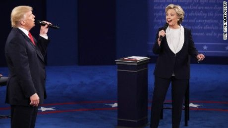 'Bad lip reading' spoofs the debate Democratic presidential nominee former Secretary of State Hillary Clinton and Republican presidential nominee Donald Trump speak during the town hall debate at Washington University on October 9, 2016, in St. Louis.