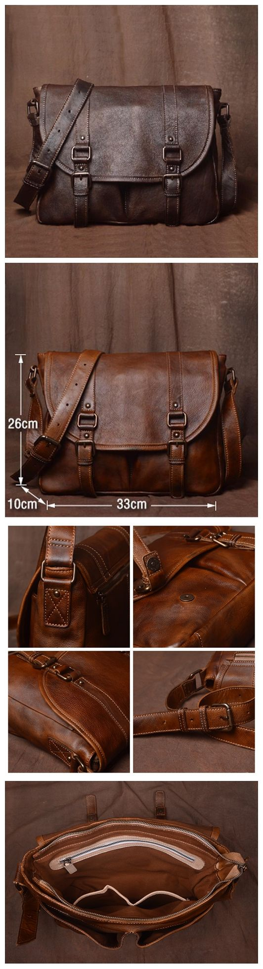 Classic Mens Leather Bag, Handmade Leather Briefcase, Business Bag JZ001