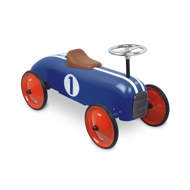 Vilac Blue Metal Ride On Car: With an eye-catching design  and cool details, this Metal Car is the perfect gift for little racers with a need for speed! It features a durable metal construction, comfy seat and a snazzy metal steering wheel for ultra fun driving racers. This traditional toy is perfect for encouraging creative play as well as developing essential motor and co-ordination skills. It is a firm favourite with our little shoppers.