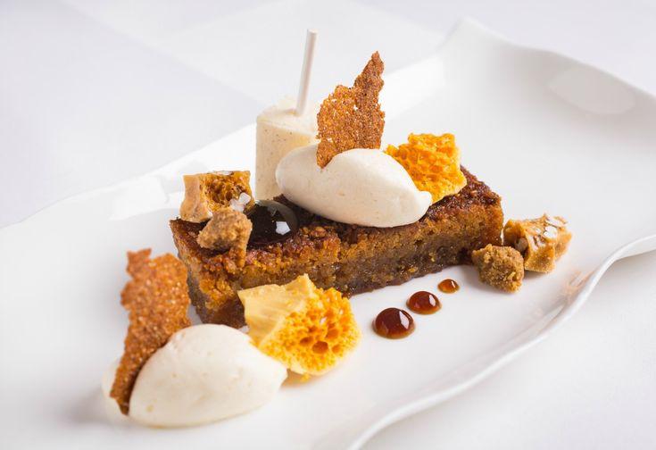 Treacle Tart with Honeycomb and Vanilla Cream