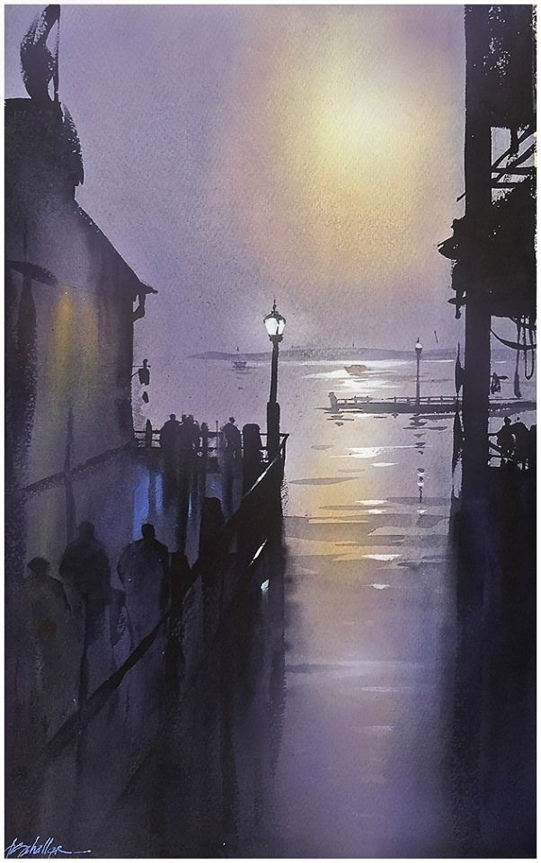 """""""Composition in Violet"""" Thomas W Schaller Watercolor - 2015 22x14 inches"""