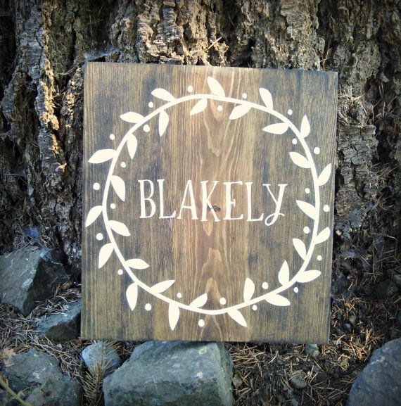 Rustic Name Sign  Name Wreath Decor  Bedroom by ThirtyOneProverbs