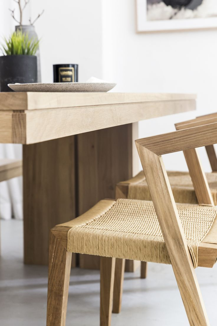 Stunning profile of the modern Urban Loom Chair, with a natural rattan weave seat and timber frame.
