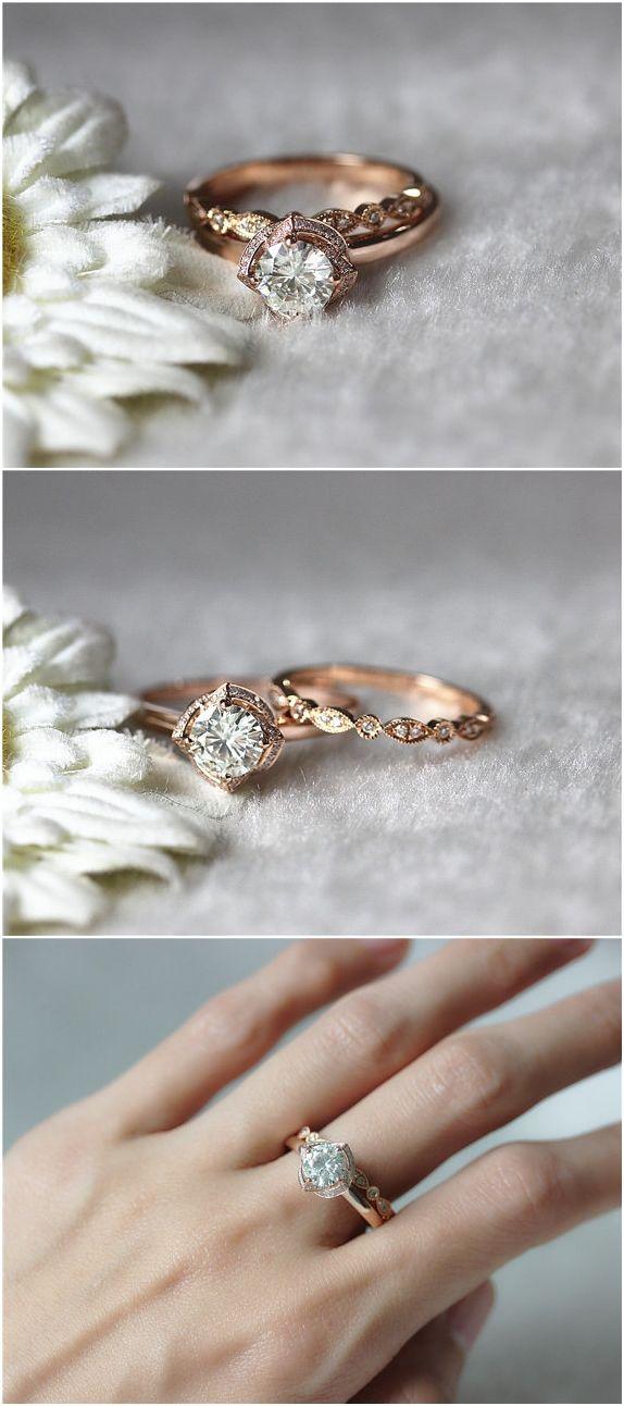 Brilliant Moissanite Ring Set 6.5mm Moissanite Wedding Ring and Half Eternity Ring / http://www.deerpearlflowers.com/rose-gold-engagement-rings/
