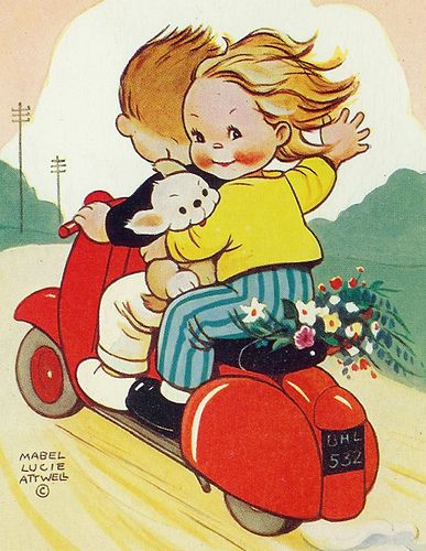 Children on Vespa Postcard