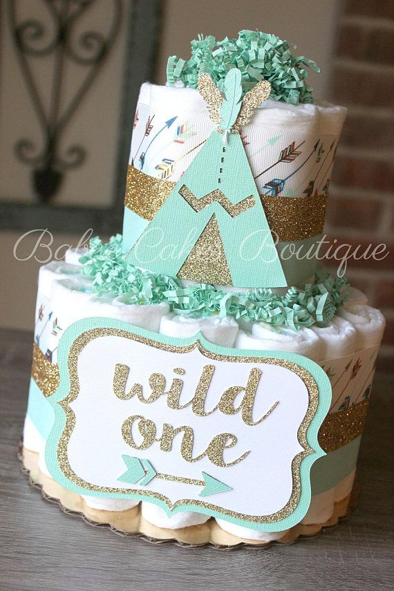 2 Tier Wild One Diaper Cake Mint Gold Teepee Diaper Cake