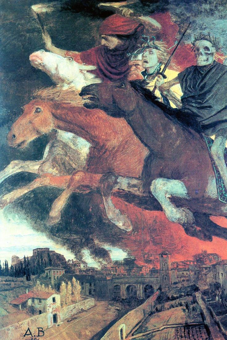 Arnold Bocklin 1896. Four Horsemen. http://my-ear-trumpet.tumblr.com/page/2411