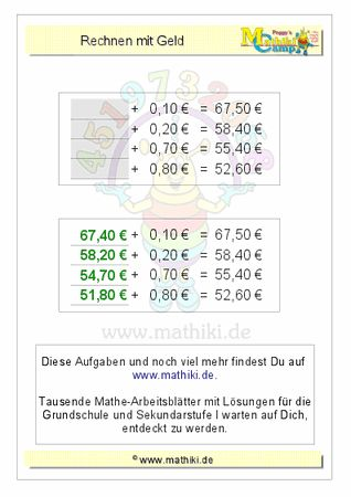 Rechnen mit Geld (ZE,ZE€+ZE,ZE€) - ©2011-2016, www.mathiki.de - Ihre Matheseite im Internet #math #money #geld #euro #cent #arbeitsblatt #worksheet