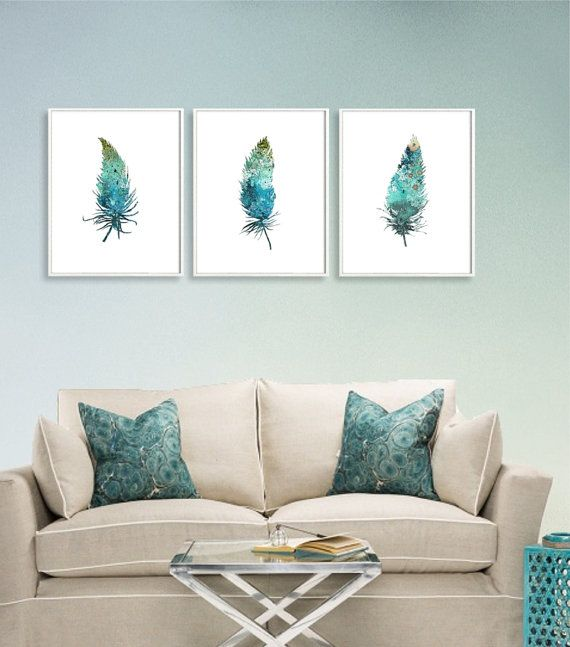 SET of Tree Blue Feathers Watercolor Art Prints by QPrints on Etsy