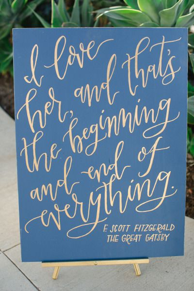Gold and blue Gatsby signs: http://www.stylemepretty.com/california-weddings/san-diego/2015/03/09/gatsby-inspired-wedding-at-the-museum-of-contemporary-art/ | Photography: Carmen Santorelli - http://carmensantorellistudio.co