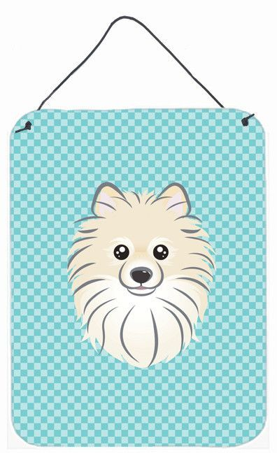 Checkerboard Blue Pomeranian Wall or Door Hanging Prints BB1145DS1216