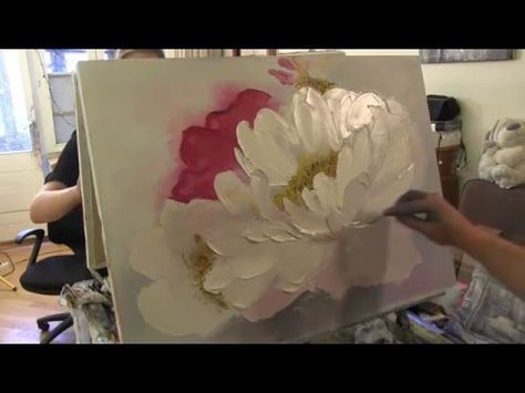 PAINTING TUTORIAL Acrylic Peony Flower Techniques   Katie Jobling Art - YouTube