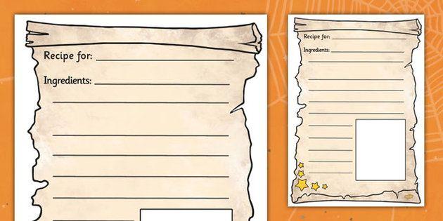 Magic Potion Recipe Writing Frames