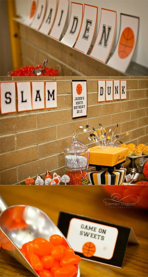 Basketball Birthday Party Theme Ideas. For more ideas visit www.getthepartystarted.etsy.com