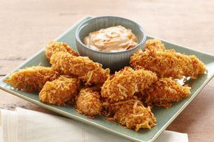 Coconut-Chicken Dippers Recipe - everyone will love the crunchy, coconut coating on these chicken bites!