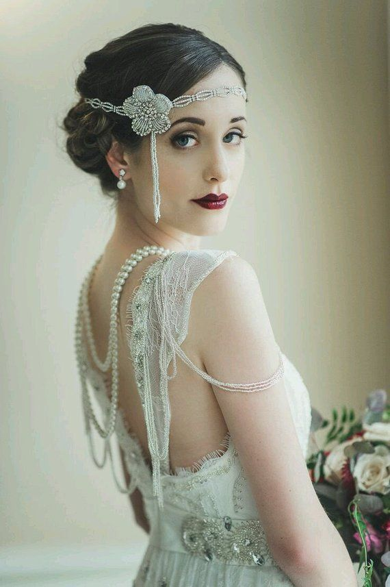 Greater than Gatsby — Old Hollywood Glam Art Deco Wedding Headpiece — Gatsby Wedding, Wedding Headpiece, Deco Wedding Piece, Flapper