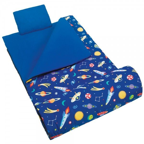 Galaxy Outer Space Blue Kids Junior Sleeping Bag Set For Boys
