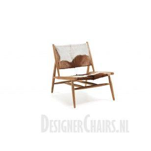IKE - Laforma-Kave Geiten lederen fauteuil/stoel zonder armleuning. Het frame is van hout.
