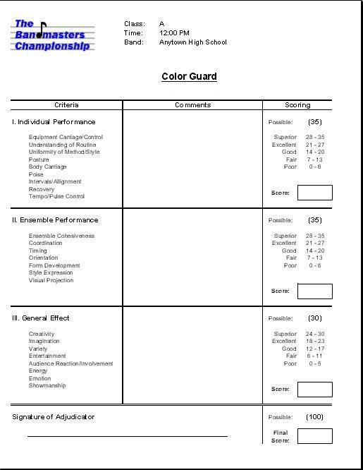 colorguard band score sheet - Google Search Color Guard Stuff - cheerleading tryout score sheet