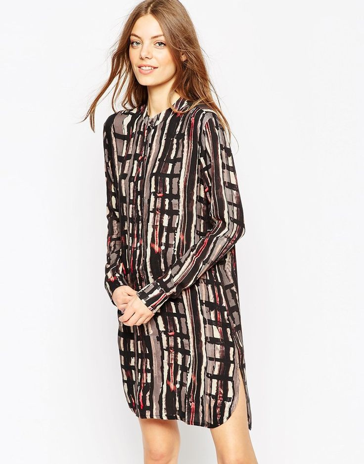 Image 1 ofASOS AFRICA Placket Detail Shirt Dress In Abstract Print