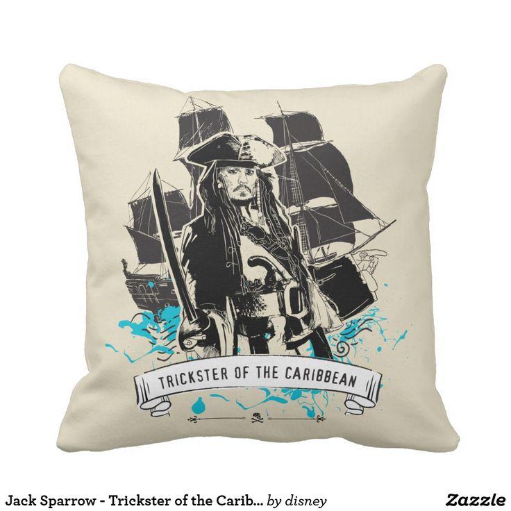 Jack Sparrow - Trickster of the Caribbean. Producto disponible en tienda Zazzle. Decoración para el hogar. Product available in Zazzle store. Home decoration. Regalos, Gifts. #cojín #pillows