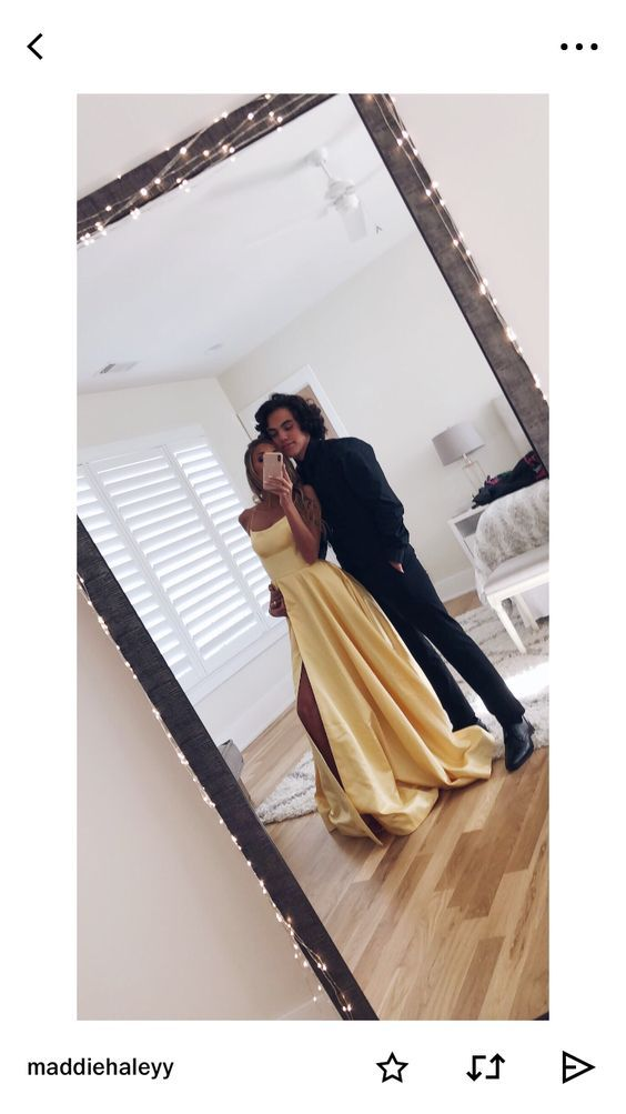 Backless Spaghetti Straps Long Yellow Prom Dress with Split