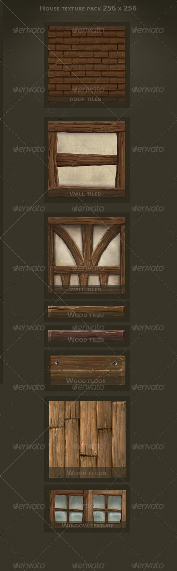 Hand Painted House Textures - 3DOcean Item for Sale