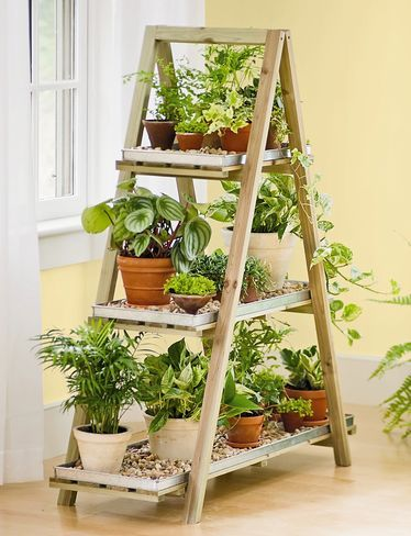 A-Frame Plant Stand  ---- can be used indoors or out. Galvanized trays available.