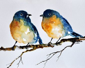 ORIGINAL Watercolor Bird Painting 6x8 inch by ArtCornerShop
