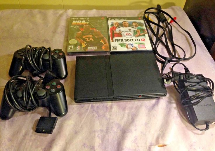 Sony PlayStation 2 Slim PS2 Black Console Bundle Games SCPH-77001 #Sony