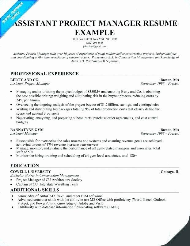 Assistant Project Manager Resume Elegant Assistant Project Manager Construction Resume Guatemalago Project Manager Resume Job Resume Samples Manager Resume