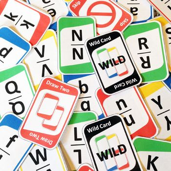 """Practice letters with this fun letter recognition game! It plays just like """"UNO""""!"""