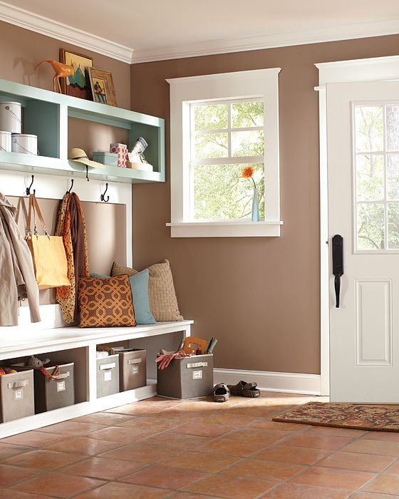 Mud rooms make great entryway spaces, giving you a spot to drop all of your belongings and providing extra storage space. Get more inspiration for your mud room from The Home Depot Blog.