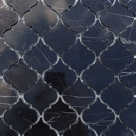 Arabesque Black Kitchen Tiles Black Lantern Marble Mosaic