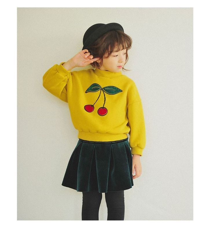 Kids Clothing Top Cherry Round Neck Yellow Warm Made in Korea