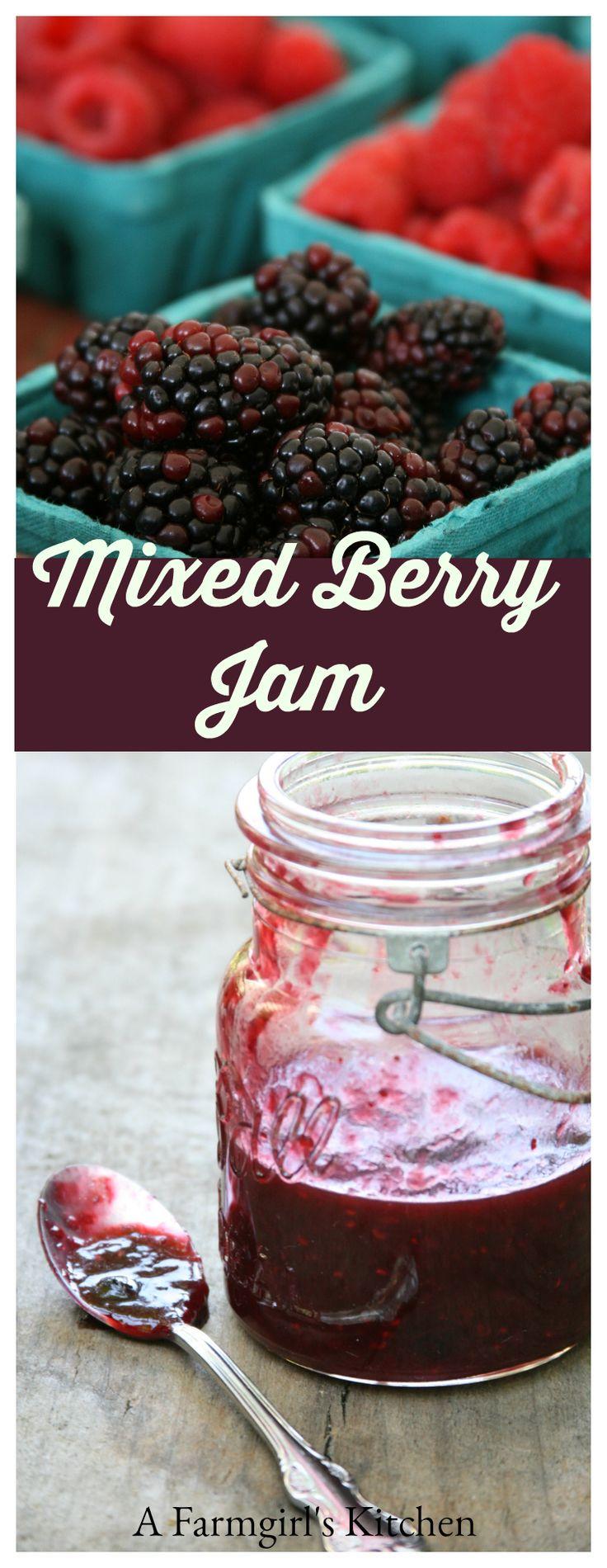 Homemade Mixed Berry Jam #recipe #recipes #foodblogger http://afarmgirlskitchen.com/mixed-berry-jam/