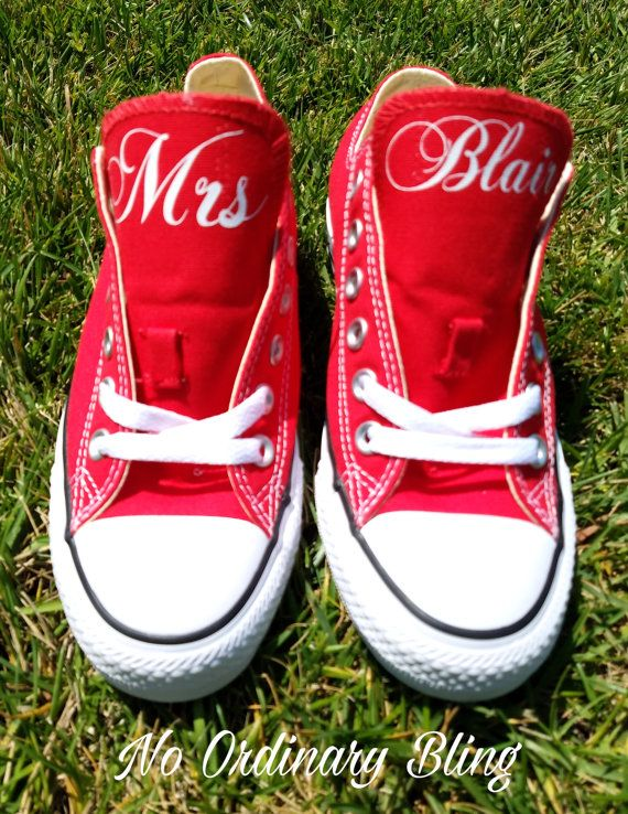 Custom Wedding Converse Red Tongues Personalized Bride
